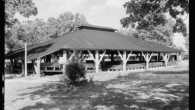 Black and white photo of permanent camp meeting structure