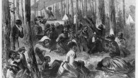 vintage black and white drawing of a camp meeting in the woods