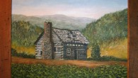 Painting of Plott family cabin by Willie Morgan. Courtesy of Bob Plott.