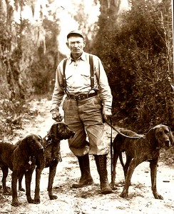 Von Plott and his dogs.  Courtesy of the State Archives of North Carolina.
