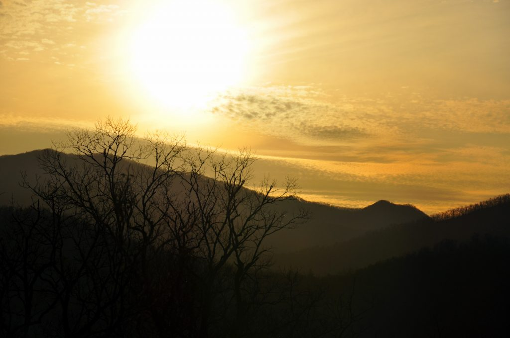 Sunset over Hall Mountain, Macon County, NC.