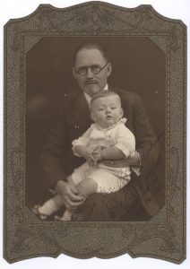 "Dr. Brinkley with an unidentified child. The Photograph is inscribed ""To Professor Rob't. Madison, John R. Brinkley, Milford, KS, May 17 - 1930."""