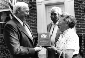 Mary Ulmer Chiltoskey receiving the Mountain Heritage Award, 1986.