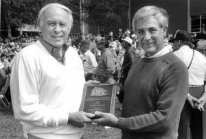 Joe Parker Rhinehart receiving the Mountain Heritage Award, 1990.