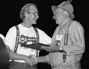 William Douglas Davis receiving the Mountain Heritage award, 1994.