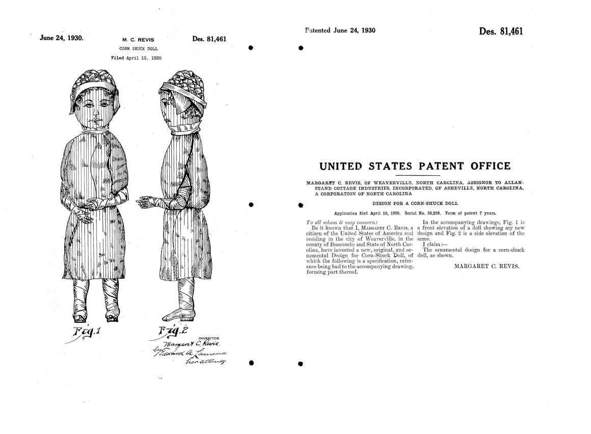 Patent for a corn shuck doll by Margaret C. Revis